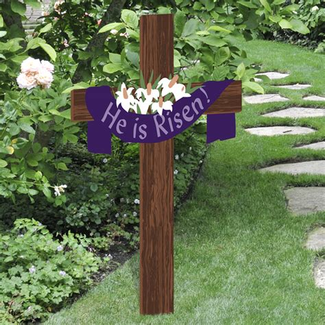 religious outdoor decorations he is risen easter yard cross outdoor nativity store