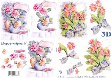 flower decoupage flower bouquets 3d decoupage sheet