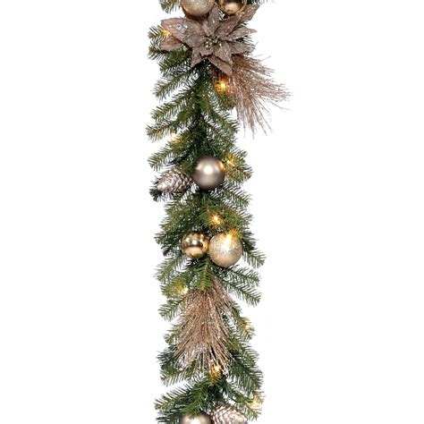pre lit garland 9 ft decorative collection metallic pre lit garland