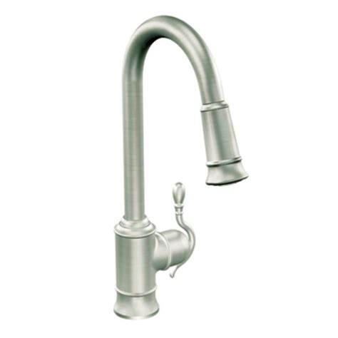 moen kitchen faucets shop moen woodmere classic stainless pull kitchen