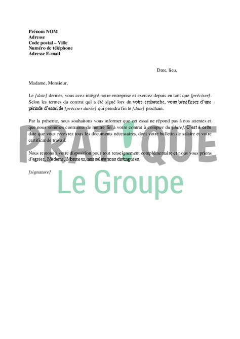 lettre de rupture de la p 233 riode d essai d un cdi 224 l initiative de l employeur pratique fr