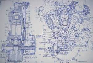 blueprint drawing knucklehead harley engine drawing blueprint bikes mm