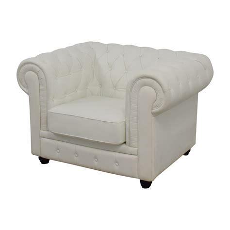 White Leather Accent Chair by 86 Chesterfield Tufted White Leather Accent Chair