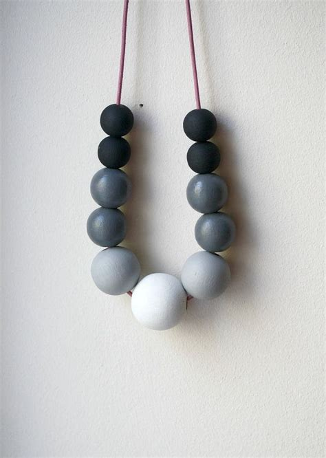 wooden bead necklace foggy morning statement necklace painted wooden