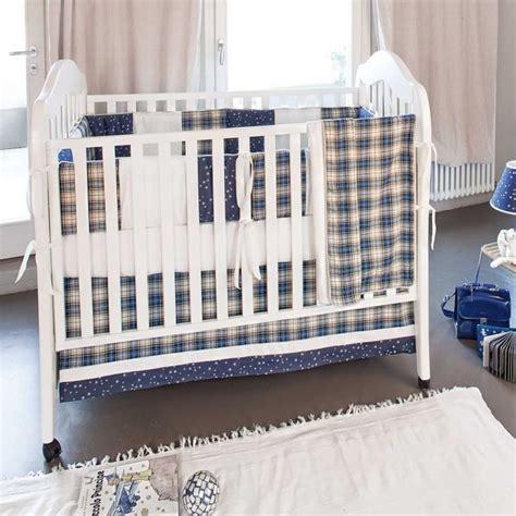 plaid baby boy crib bedding 4pc blue and yellow plaid checkered baby boy