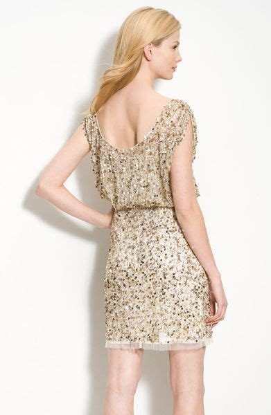 aidan mattox beaded blouson dress aidan mattox beaded blouson dress in gold light gold lyst