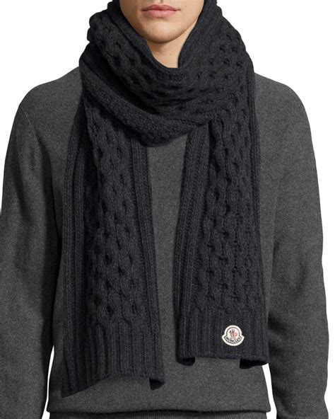 mens scarf knit moncler s cable knit scarf in gray for lyst