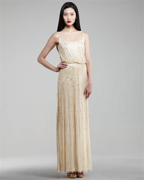 aidan mattox beaded blouson dress aidan mattox beaded blouson gown in gold lyst