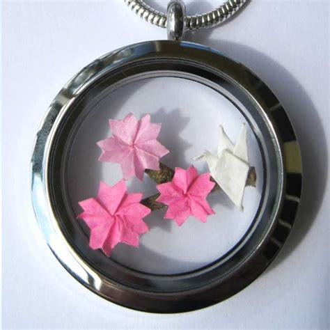 origami locket origami cherry blossom floating locket necklace