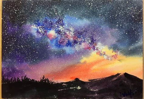 paint nite mountain view a step by step demonstration tutorial of starry