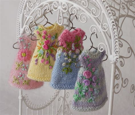 how to embroider on knitted projects amelia thimble s new dresses from the garden rice