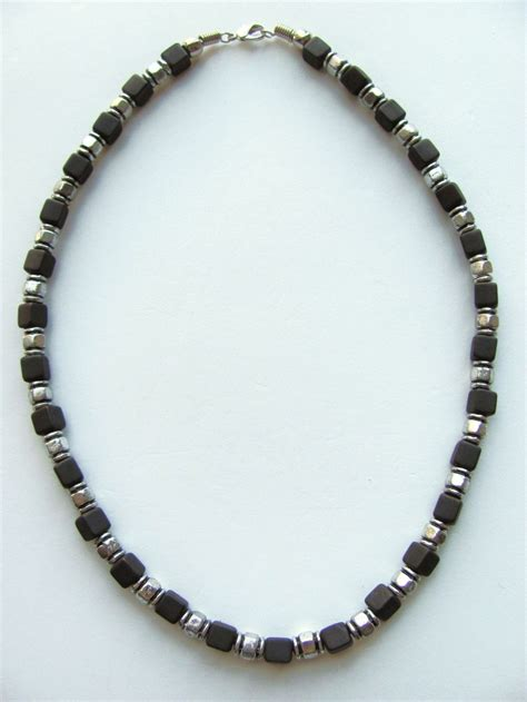 mens beaded necklaces two tone black cube surfer beaded necklace s