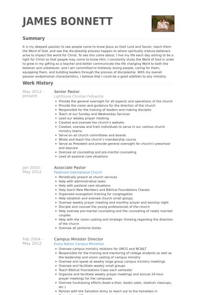 ministry resume helps
