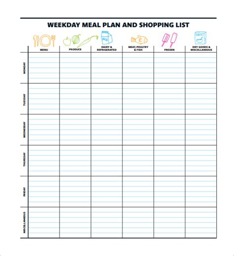 14 meal planning template free amp premium templates