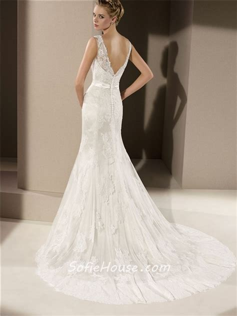 low back fitted mermaid v neck low back ivory lace wedding dress