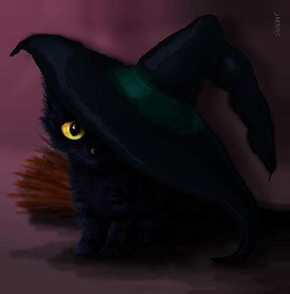 witches cat witch hat cat greeting card by snugbat