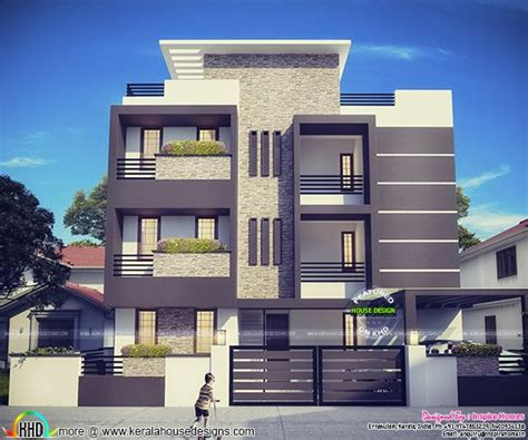 3 floor house plans contemporary three storied residential building kerala