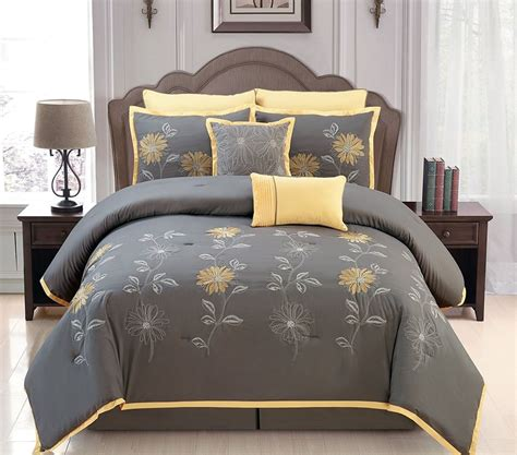 yellow king comforter sets yellow grey comforter set embroidery bed in a