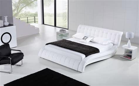 modern white bed frames janni white modern leather bed frame 899 99