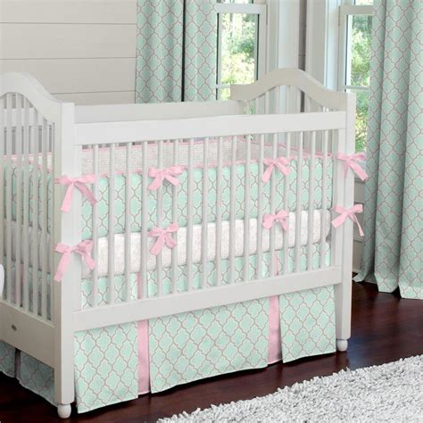 baby bedding crib mint and pink quatrefoil crib bedding carousel designs