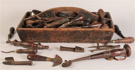 tools woodworking lot 691 19th c wooden tool caddy with early tools