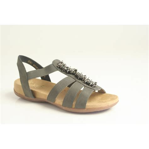 sandals with rieker rieker sandal 60581 45 in grey with metal tag trim