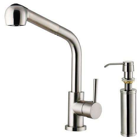 pull out spray kitchen faucet vigo single handle pull out sprayer kitchen faucet with soap dispenser in stainless steel