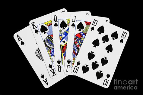card images cards royal flush on black background photograph