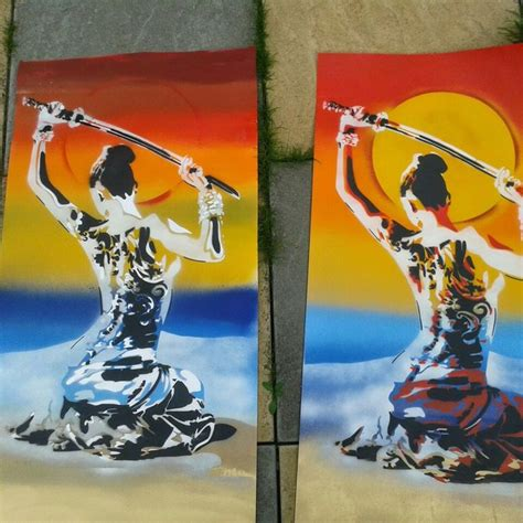 japanese spray paint japanese geisha with samurai sword painting stencil