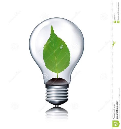 eco lights eco light bulb with green leaf stock vector image 59789953