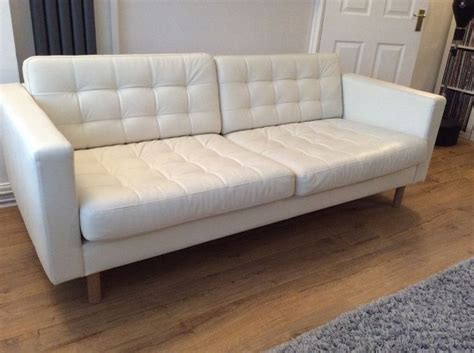 ikea white leather sofa ikea landskrona 3 seat white leather sofa white leather