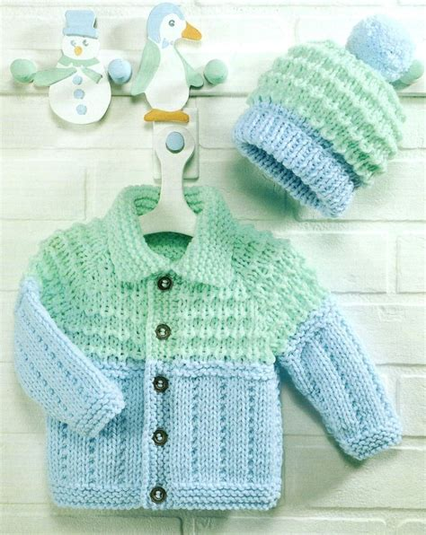 chunky knit free patterns baby knitting pattern chunky jacket and hat 18 26 quot 124 ebay