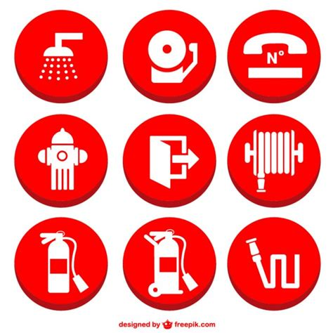 Decorative Fire Extinguisher fire prevention icons set vector free download