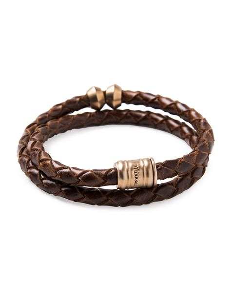 leather for jewelry miansai brass leather casing bracelet in brown for lyst