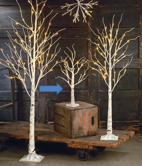 display tree display tree small lighted white birch set of 3 4 or 5