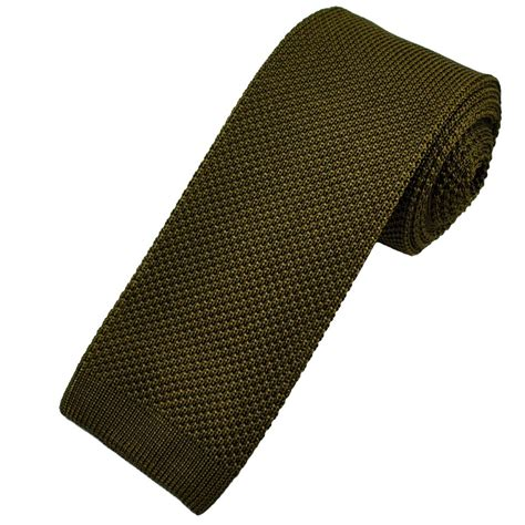 knitted green tie vidoni plain olive green silk designer knitted tie