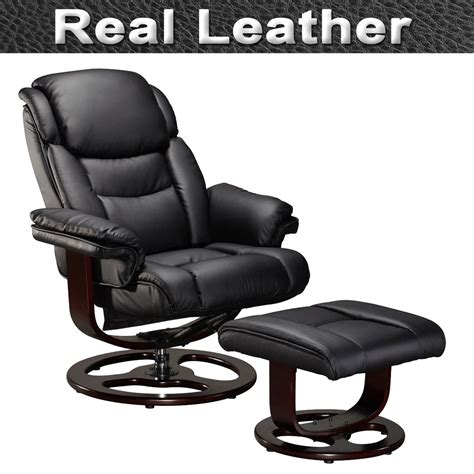 real leather recliner swivel chairs vienna real leather swivel recliner chair w foot stool
