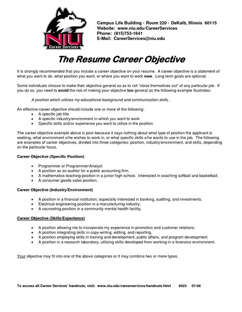 for on career objective on resume template resume builder