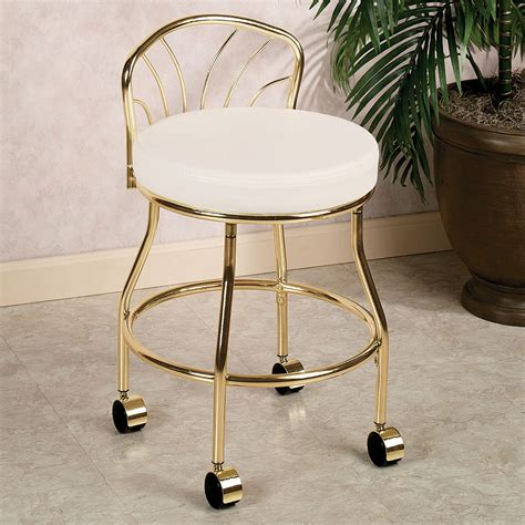 bathroom vanity chairs and stools flare back metallic finish vanity chair with casters