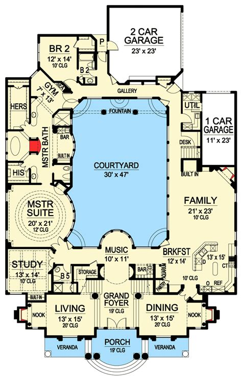floor plans with courtyard luxury with central courtyard 36186tx architectural designs house plans