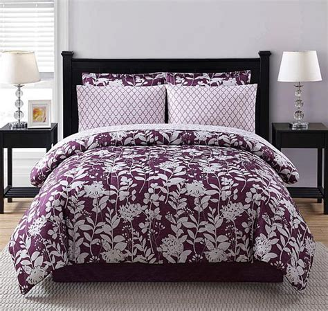 size floral comforter sets purple white floral geometric 8 comforter bedding