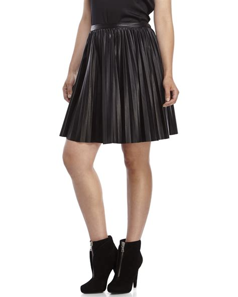 leather pleated skirt an ge black pleated faux leather skirt in black lyst