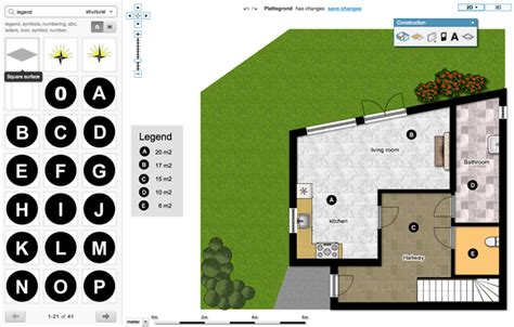 interactive floor planner 3 find the a in the construction menu drag text objects