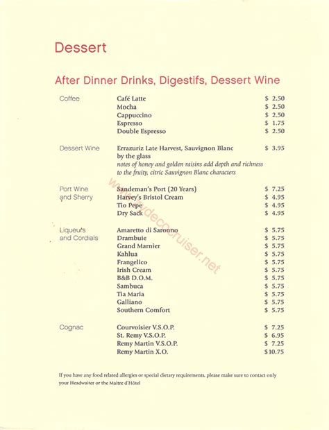 044 emerald princess cruise mdr dinner dinner 4 dessert menu 1 italian dinner