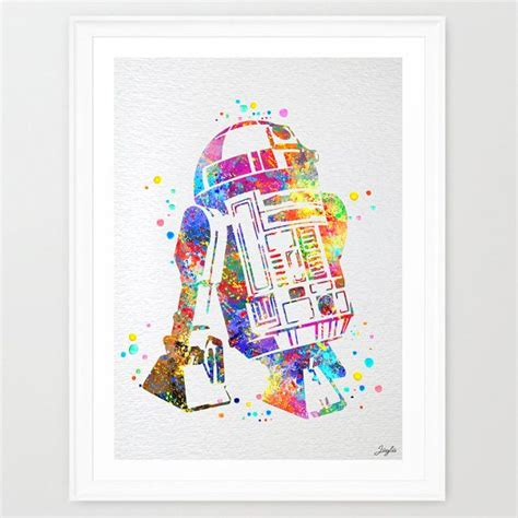 star wars r2d2 watercolor painting print wall by