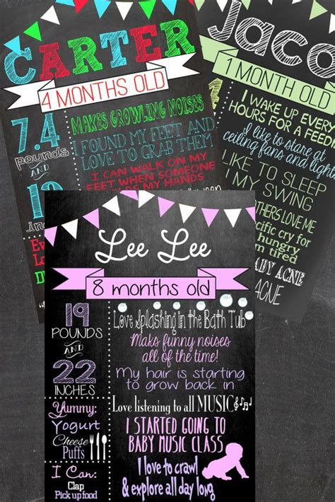 diy chalkboard milestone month by month chalkboard diy sign print from home