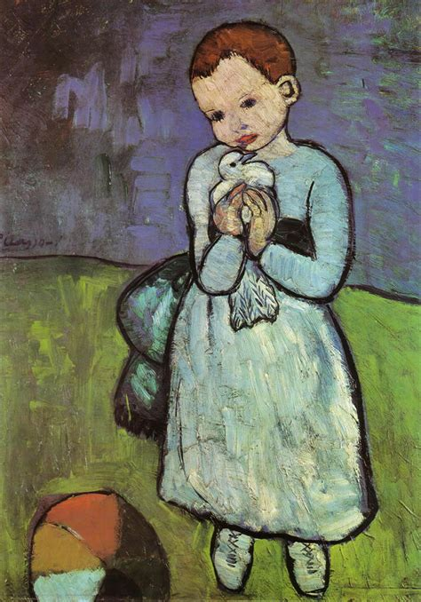 picasso paintings child with a dove child holding a dove 1901 pablo picasso wallpaper image