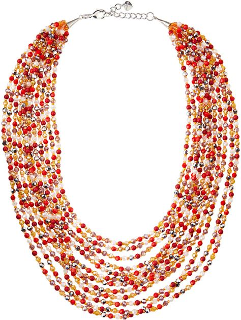 multi layered beaded necklace nakamol multi layered beaded necklace orange