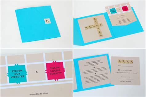 scrabble invitations bright scrabble themed wedding invitation onewed