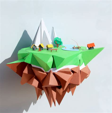 craft paper printing floating island mjulien freelance papercraft graphic design